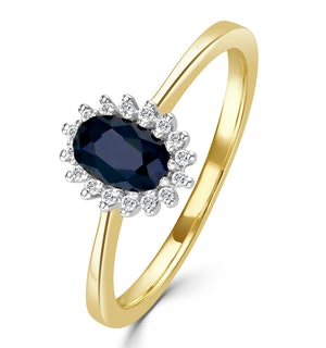Sapphire 6 x 4mm And Diamond 9K Gold Ring