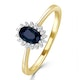 Sapphire 6 x 4mm And Diamond 9K Gold Ring - image 1