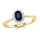 Sapphire 6 x 4mm And Diamond 9K Gold Ring - image 2