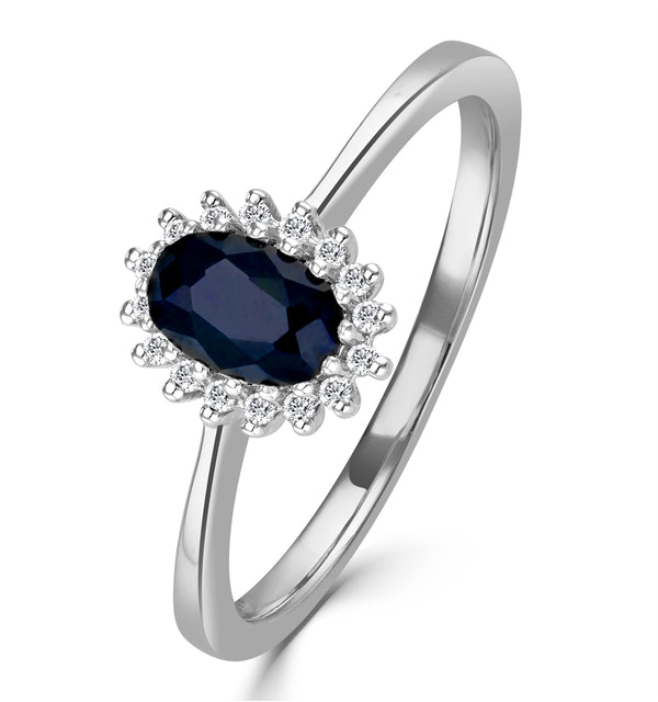 Sapphire 6 x 4mm And Diamond 9K White Gold Ring  A4433 - image 1