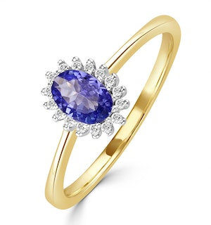 Tanzanite 6 x 4mm And Diamond 9K Gold Ring