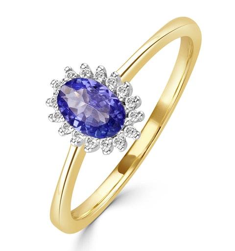 Tanzanite 6 x 4mm And Diamond 18K Gold Ring - image 1