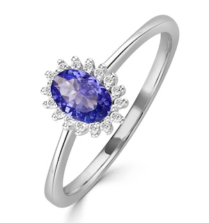 Tanzanite 6 x 4mm And Diamond 9K White Gold Ring