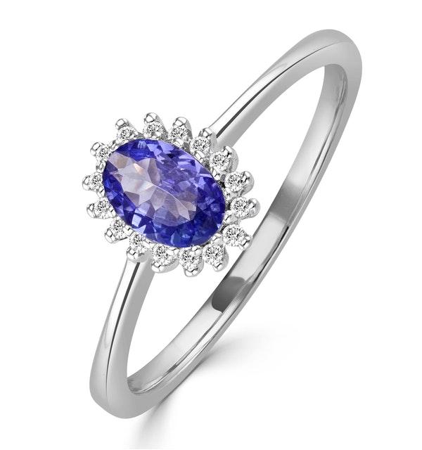 Tanzanite 6 x 4mm And Diamond 9K White Gold Ring - image 1