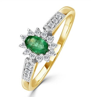 Emerald 5 x 3mm And Diamond 9K Gold Ring  A3203