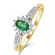 Emerald 5 x 3mm And Diamond 18K Gold Ring - image 1