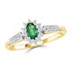 Emerald 5 x 3mm And Diamond 18K Gold Ring - image 2