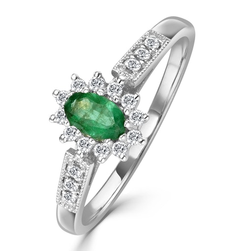 Emerald 5 x 3mm And Diamond 9K White Gold Ring - image 1