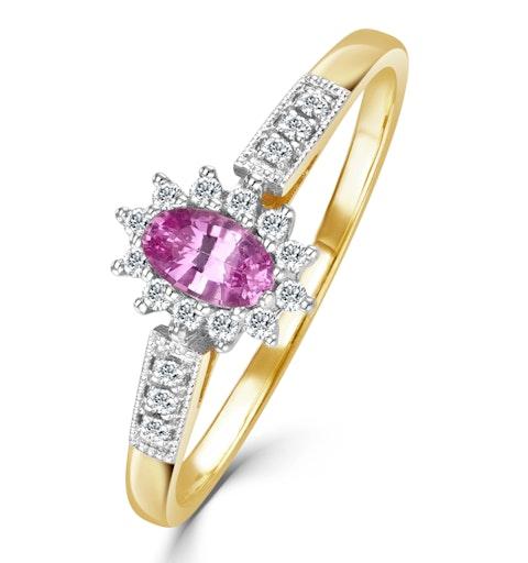 9K Gold Diamond Pink Sapphire Ring 0.14ct - image 1