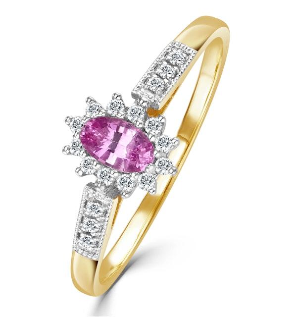 18K Gold Diamond Pink Sapphire Ring 0.14ct - image 1