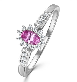 18K White Gold Diamond Pink Sapphire Ring 0.14ct