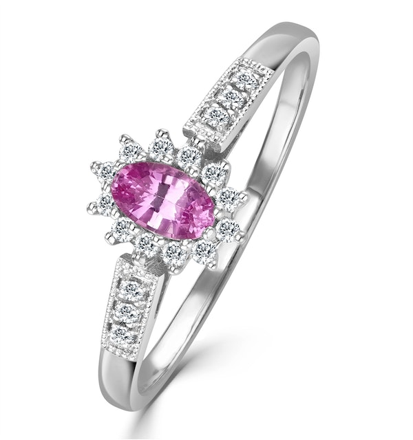 18K White Gold Diamond Pink Sapphire Ring 0.14ct - image 1