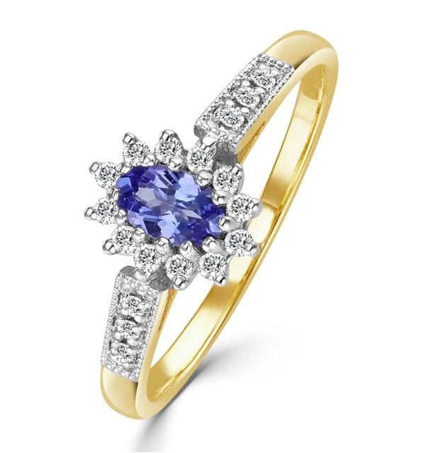 Tanzanite 5 x 3mm And Diamond 18K Gold Ring - image 1