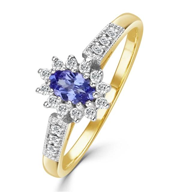 Tanzanite 5 x 3mm And Diamond 9K Gold Ring - image 1