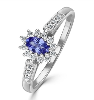 Tanzanite 5 x 3mm And Diamond 18K White Gold Ring