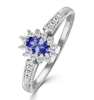 Tanzanite 5 x 3mm And Diamond 9K White Gold Ring