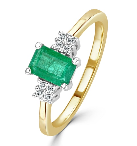 Emerald 0.65ct And Diamond 9K Gold Ring - image 1