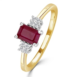 Ruby 6 x 4mm And Diamond 9K Gold Ring  A4334