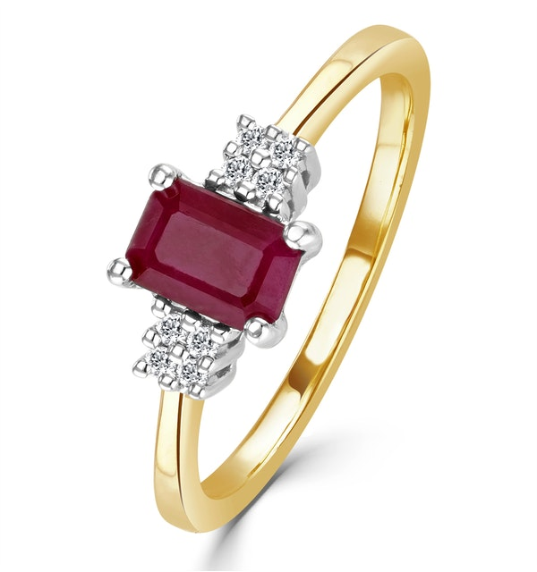 Ruby 6 x 4mm And Diamond 9K Gold Ring  A4334 - image 1