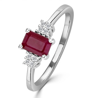 Ruby 6 x 4mm And Diamond 18K White Gold Ring  FET37-TY