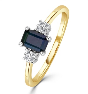 Sapphire 6 x 4mm And Diamond 9K Gold Ring  A3220