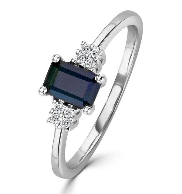 Sapphire 6 x 4mm And Diamond 9K White Gold Ring - image 1