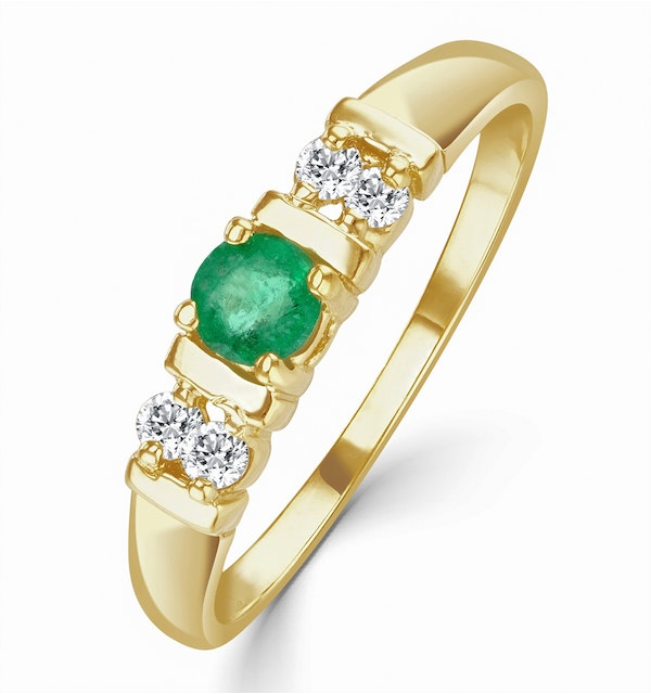 Emerald 3.75mm And Diamond 9K Gold Ring - image 1