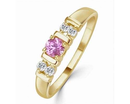 Pink Sapphire Yellow Gold Engagement Rings