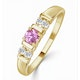 18K Gold Diamond and Pink Sapphire Ring 0.10ct - image 1