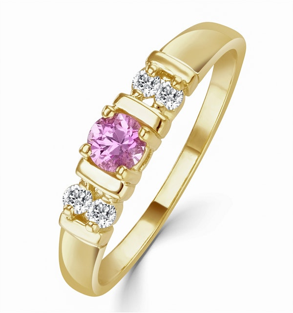 Pink Sapphire and Diamond Ring 9K Yellow Gold - image 1