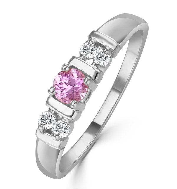 Pink Sapphire and 0.10ct Diamond Ring 9K White Gold - image 1