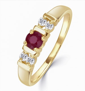 Ruby 3.75mm And Diamond 9K Gold Ring