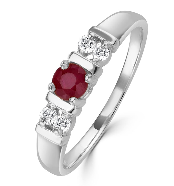 Ruby 3.75mm And Diamond 9K White Gold Ring - image 1