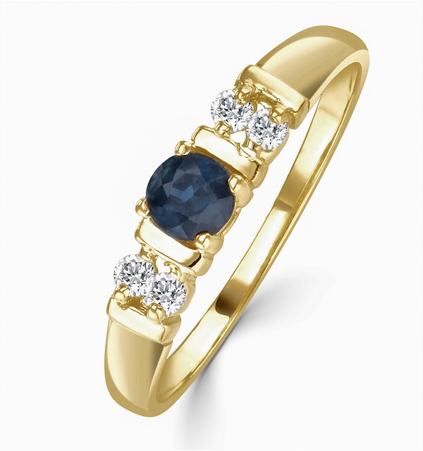 Sapphire 3.75mm And Diamond 18K Gold Ring - image 1