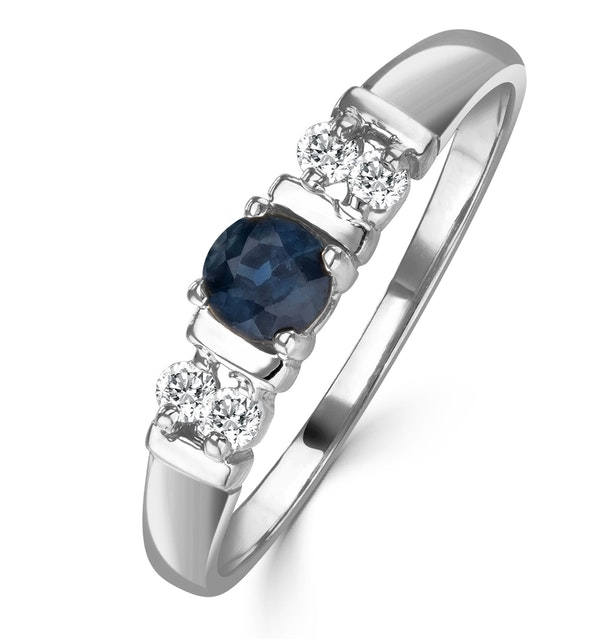 Sapphire 3.75mm And Diamond 18K White Gold Ring - image 1
