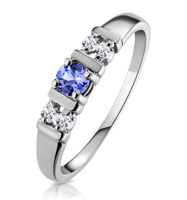 Tanzanite 3.75mm And Diamond 18K White Gold Ring - image 1