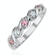 18K White Gold Diamond and Pink Sapphire Ring 0.08ct - image 1