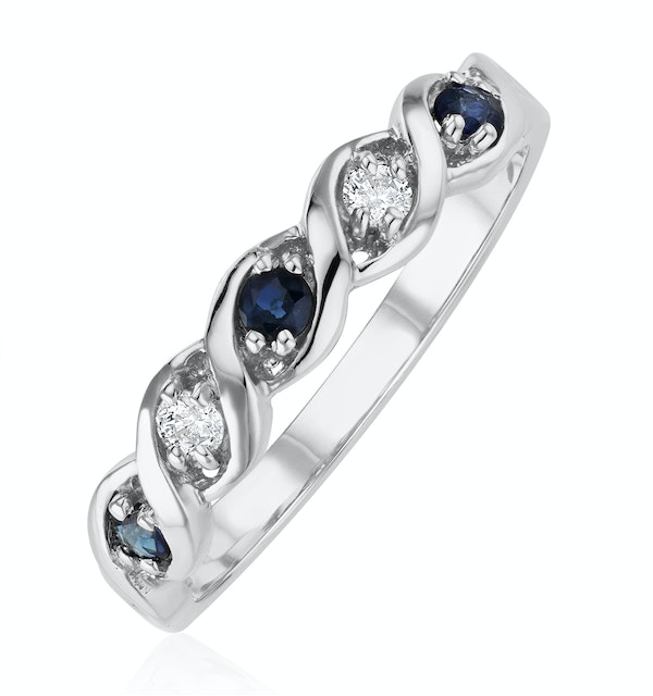 Sapphire 2.25 x 2.25mm And Diamond 9K White Gold Ring - image 1