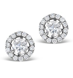 Halo Diamond Earrings - Ella 18K White Gold 0.84ct G/Vs  FG26