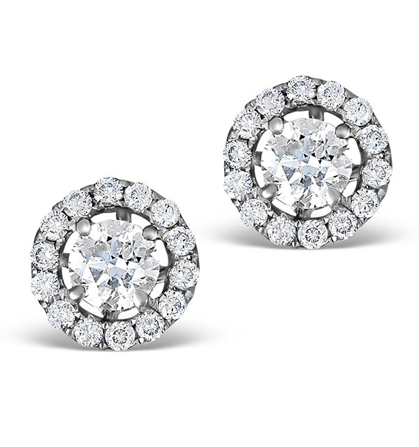 Halo Diamond Earrings - Ella 18K White Gold 0.84ct H/SI  FG26 - image 1