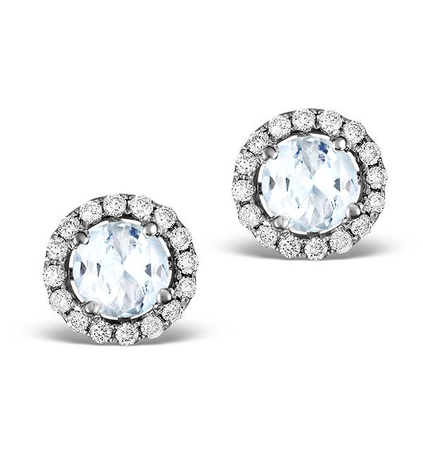 Diamond Halo Aquamarine Earrings 0.50CT - 18K White Gold FG27-CSY - image 1