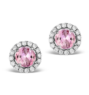 Diamond Halo Pink Sapphire Earrings - 18K White Gold Fg27-Ruy