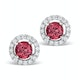 Pink Tourmaline 1CT and Diamond Halo Earrings in 18K White Gold- FG27 - image 1