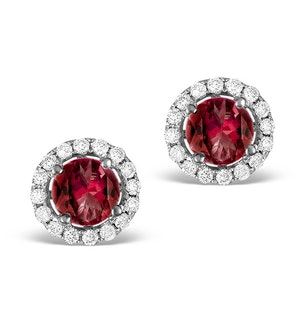 Diamond Halo Ruby Earrings 0.65CT - 18K White Gold FG27-TY