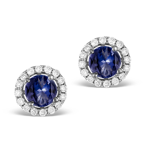 Diamond Halo Sapphire Earrings 0.75CT -18K White Gold FG27-UY - image 1