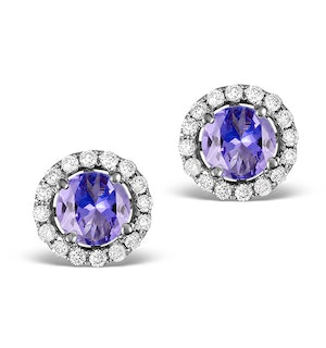 Diamond Halo Tanzanite Earrings 0.55CT - 18K White Gold FG27-VY