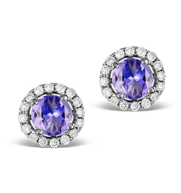 Diamond Halo Tanzanite Earrings 0.55CT - 18K White Gold FG27-VY - image 1