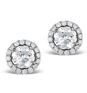 Ella Halo Lab Diamond Earrings set in Platinum 1.34ct G/Vs