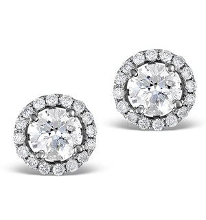 Halo Diamond Earrings - Ella 18K White Gold 1.34ct H/SI  FG27-JUY