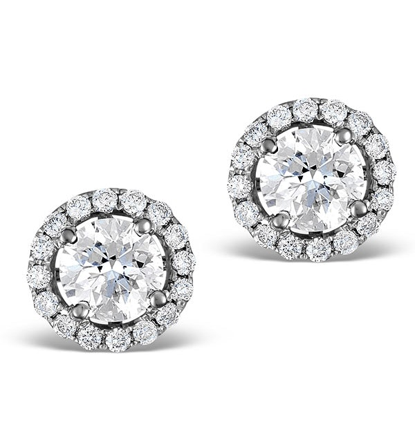 Halo Diamond Earrings - Ella 18K White Gold 1.34ct H/SI  FG27-JUY - image 1